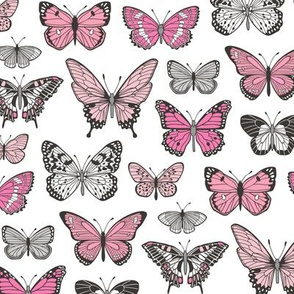 Butterflies Butterfly Nature Fabric Black & White Pink