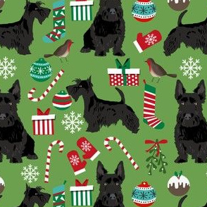 scottish terrier dog fabric asparagus green christmas design scottie dog fabric