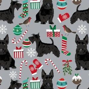 scottish terrier dog fabric quarry grey christmas design scottie dog fabric
