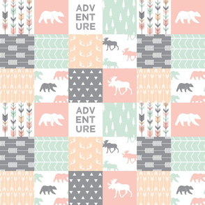 """3"""" small scale - adventure woodland wholecloth     pink,peach,grey, mint"""