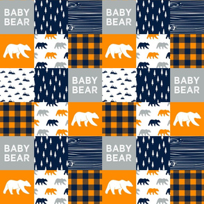 """3"""" small scale - baby bear patchwork quilt top     the great outdoors collection"""