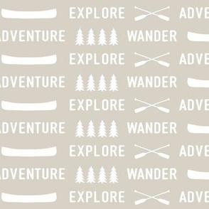 explore wander adventure on beige    adventure camp