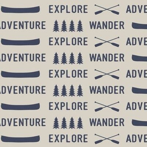 explore wander adventure    superior blue on beige - adventure camp