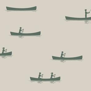 canoeing - terrain green on beige || adventure camp