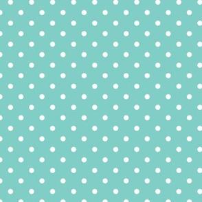 Polka Dot - White on Duck Egg Blue
