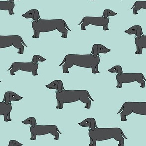 dachshund // doxies charcoal dog fabric doxies fabric design andrea lauren fabric