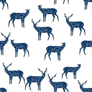 deer // navy blue fabric deer design animals fabric navy blue deer fabric