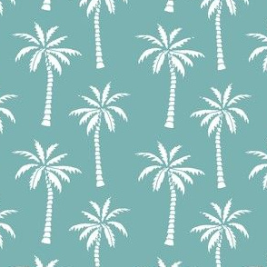 palm trees // dusty blue summer fabric palm tree tropicals design andrea lauren fabric