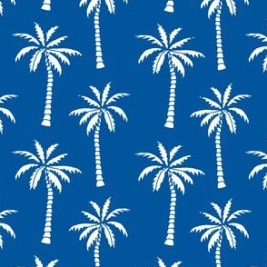 palm tree // palms fabric palm tree blue summer tropical palm fabric