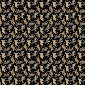 Trotting Belgian Tervuren and paw prints - tiny black