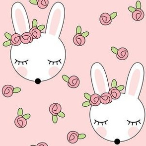 bunnies-with-pink-rosebuds on pink