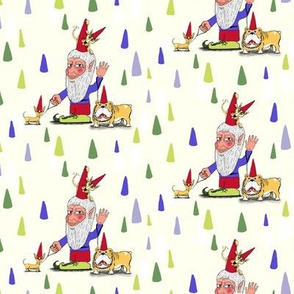 a gnome, two dogs and a cat, small scale