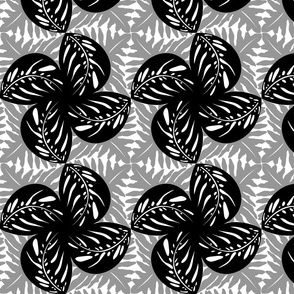 Tropical Leaves Tessellated in Black White & Gray