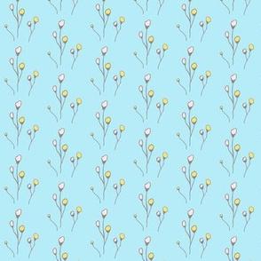 Flowers on Blue Background HandDrawn