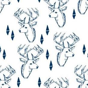 geometric deer head // navy blue deer fabric baby nursery andrea lauren fabric navy blue nursery design