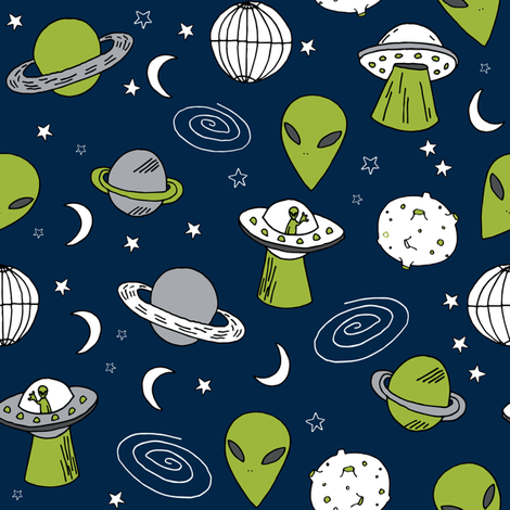 Ufos aliens fabric ufo design spaceship fabric ufo for Alien fabric