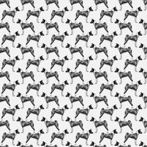 Standing Basenji - small gray