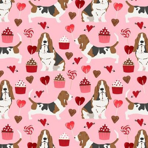 basset hounds valentines fabric cupcakes hearts love basset hounds valentines design - blossom