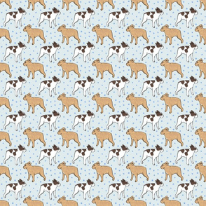 French Bulldog toons and stars - small blue