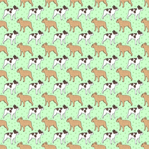French Bulldog toons and stars - small green