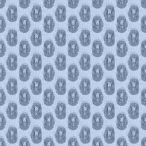 Irish Water Spaniel faces - small blue
