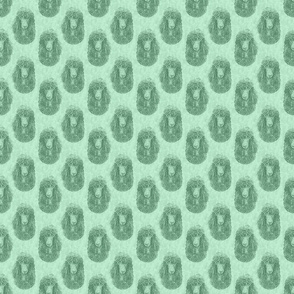 Irish Water Spaniel faces - small green