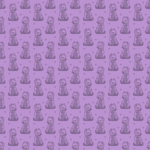 Sitting Westie stamp - small purple