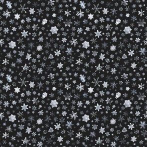 photographic snowflakes on charcoal (small snowflakes)