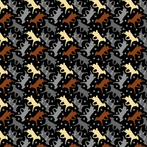 Trotting Mudis and paw prints - tiny black