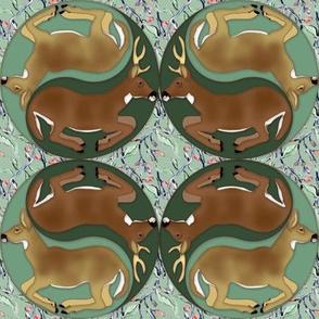 Yin Yang Deer with Vines