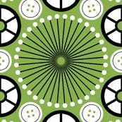 SC64 pinwheel cottonreel button : green