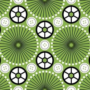 SC64 pinwheel cottonreel button : green