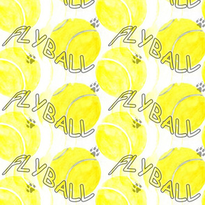 Flyball watercolor tennis balls - yellow