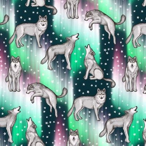 Aurora Borealis with Wolves