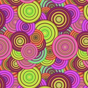 CRAZY RAINBOW CIRCLES PINK CHARTREUSE