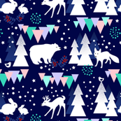 Magical Night in the Woods / Woodland Animals with Aurora Borealis