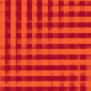 XL glitchy red and orange plaid