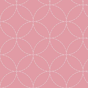 faux sashiko circles on hyacinth pink