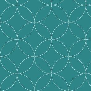 faux sashiko circles on teal