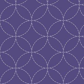 faux sashiko circles on purple