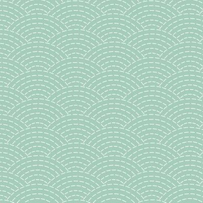faux sashiko scallop on mint green