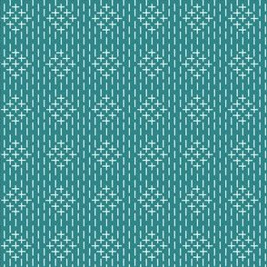 faux sashiko diamonds on teal