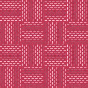 faux sashiko weave on red
