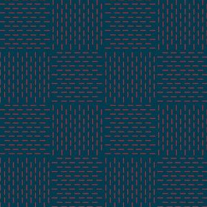 faux sashiko weave - red on nautical navy