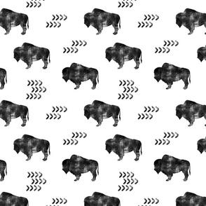 distressed buffalo || b&w
