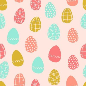 easter eggs // coral mint and gold easter eggs spring fabric easter bunnies easter design