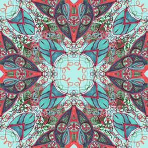 Old Fashioned Faux Carpet 2 in Aqua Blue and Red
