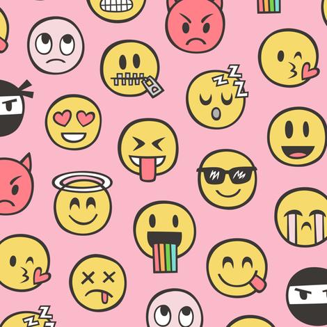Smiley emoticon emoji doodle on pink fabric caja design for Emoji fabric