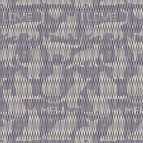 I Love Mew Gray Cat Knit Sweater