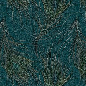 Peacock feathers on teal